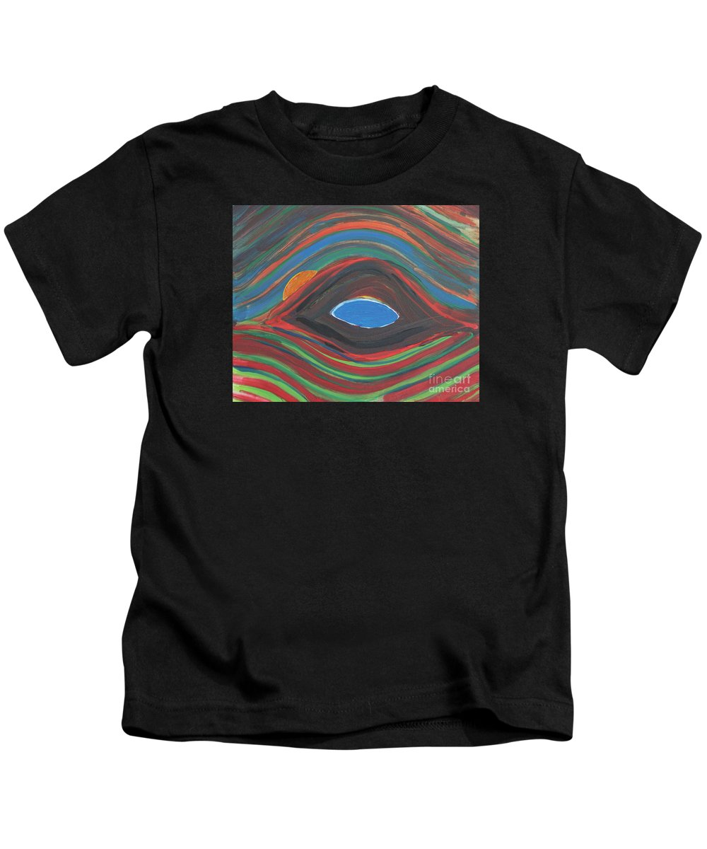 Abstract Kids T-Shirt featuring the painting Sunrise Over Blue Ridge Mountain Lake by Robert Yaeger