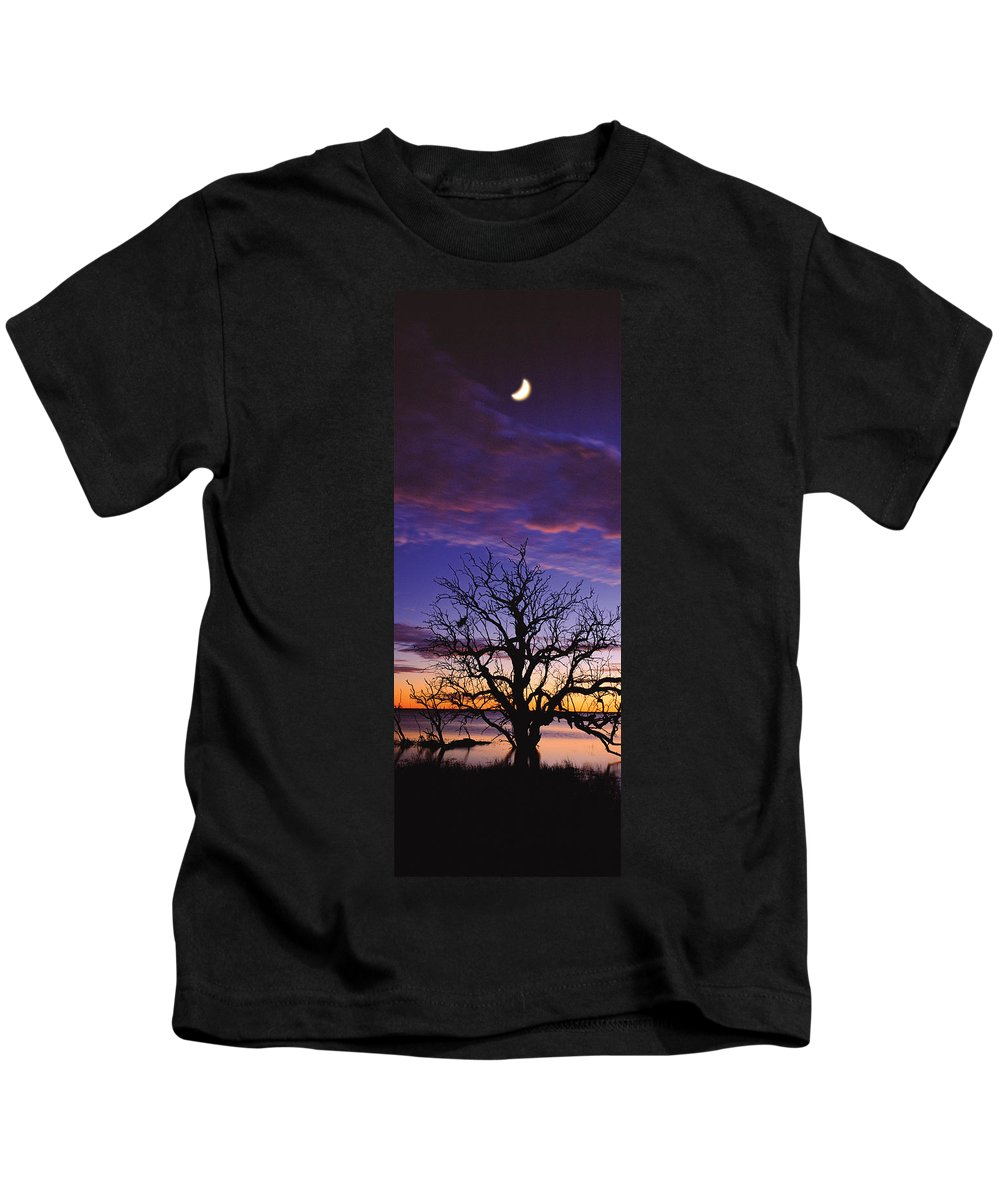 Panorama Kids T-Shirt featuring the photograph Sunrise Over Coongee Lakes With Moon. by Paul Whitehead