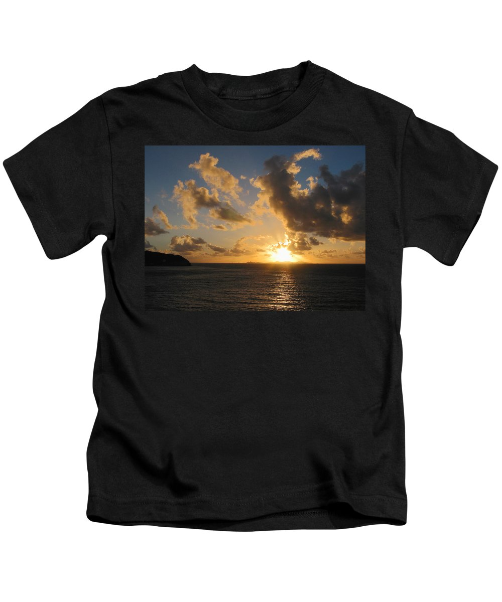 Sunrise Kids T-Shirt featuring the photograph Sunrise With Clouds St. Martin by Susan Savad