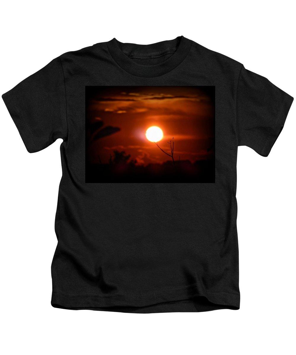 Sunset Kids T-Shirt featuring the digital art Sunset - Stuck On Tree Branch by Lilia D