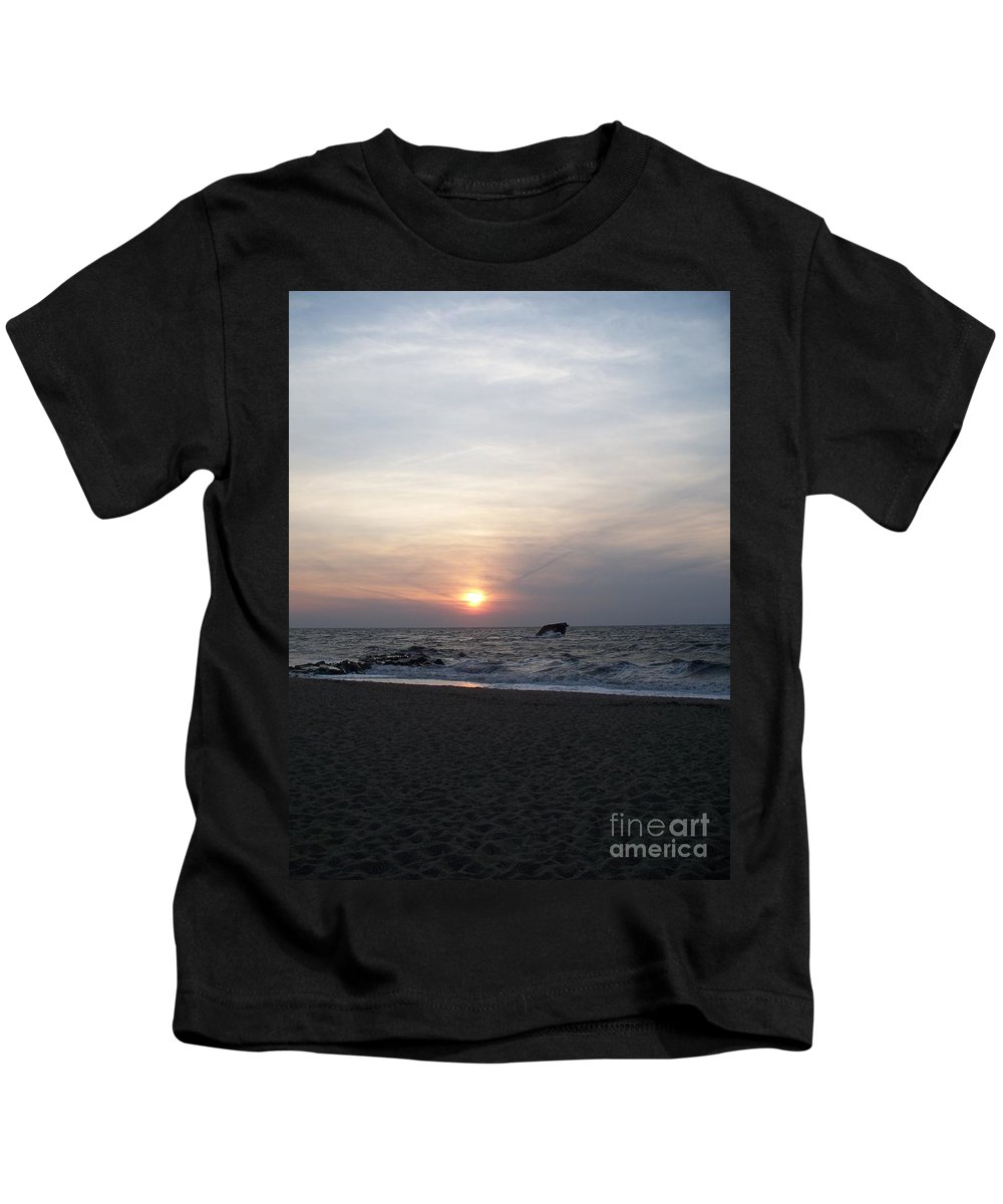 Cape May Nj Kids T-Shirt featuring the painting Sunset At Cape May Nj by Eric Schiabor