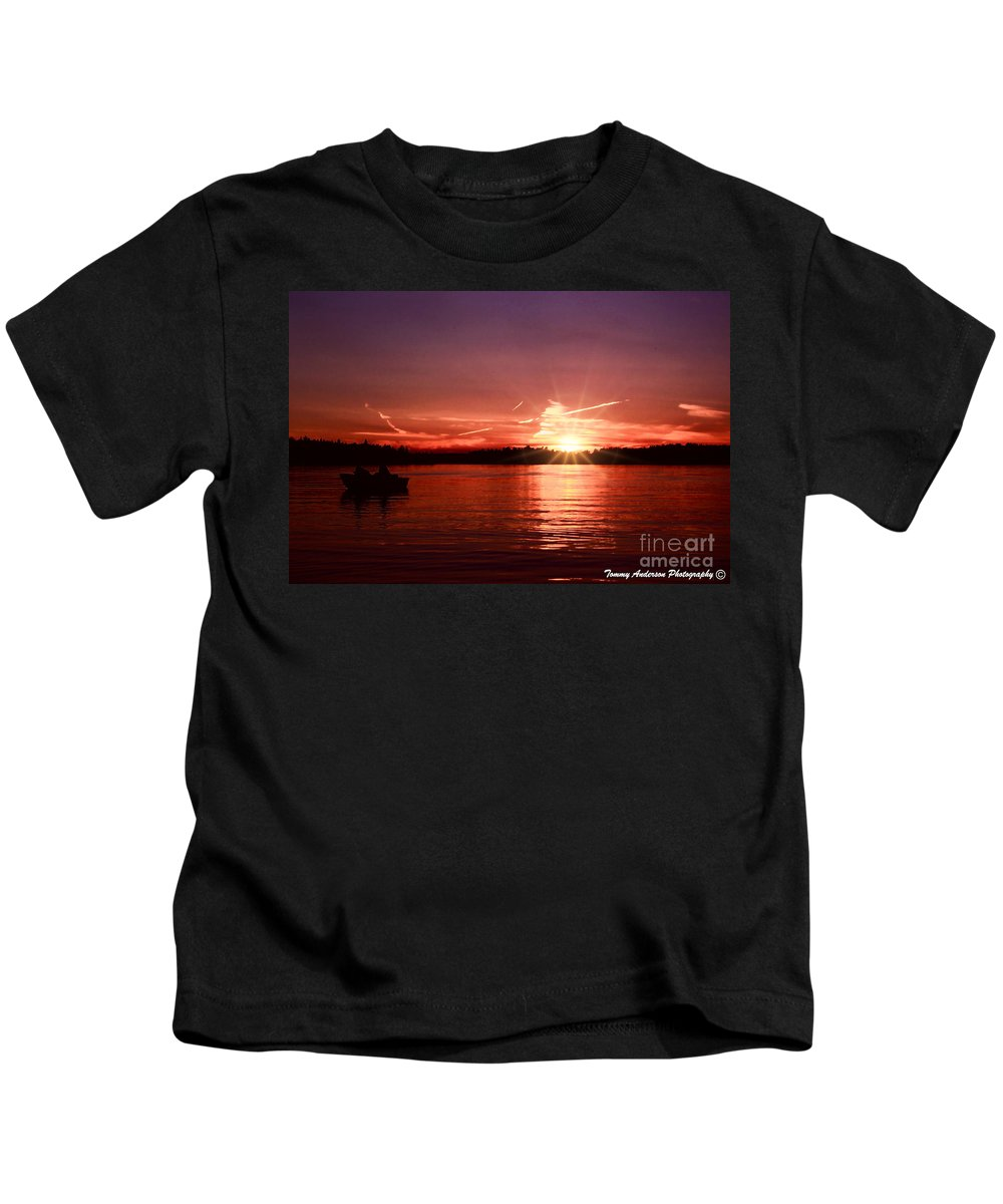 Lake Of The Woods Kids T-Shirt featuring the photograph Sunset At Lake Of The Woods by Tommy Anderson