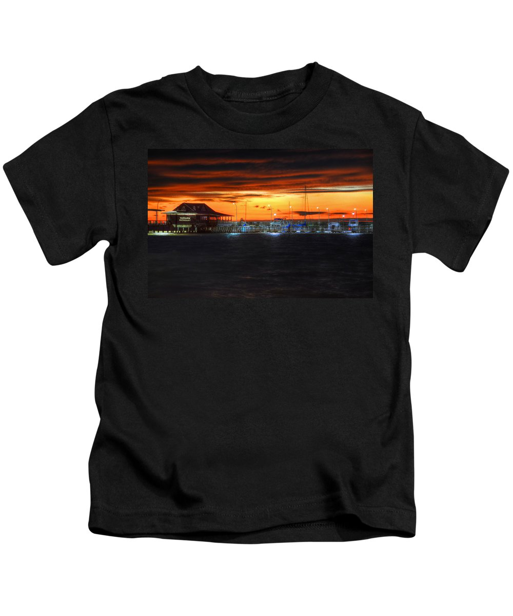 Palm Kids T-Shirt featuring the digital art Sunset At The Fairhope Pier by Michael Thomas