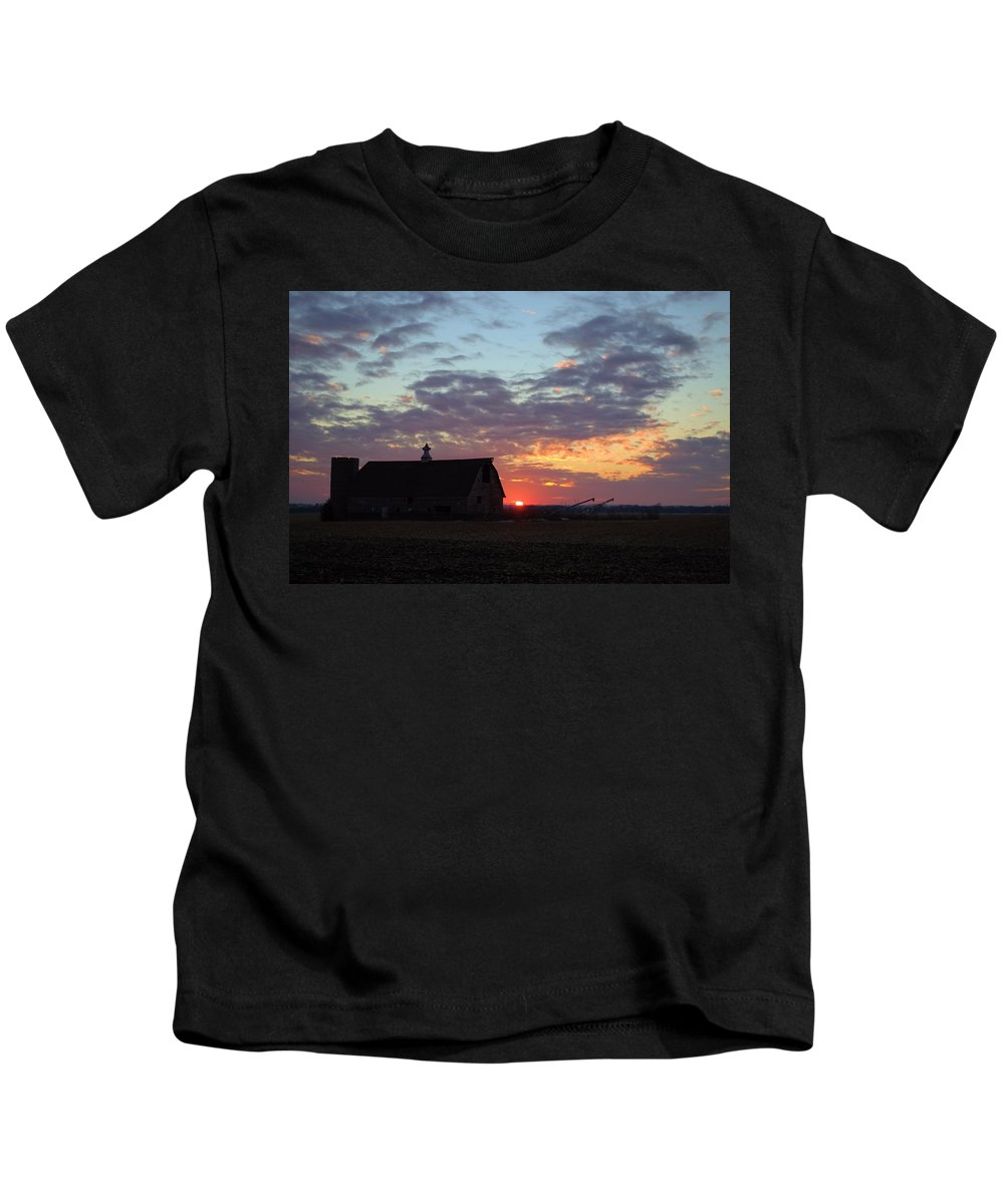 Sunset Kids T-Shirt featuring the photograph Sunset By The Barn by Bonfire Photography