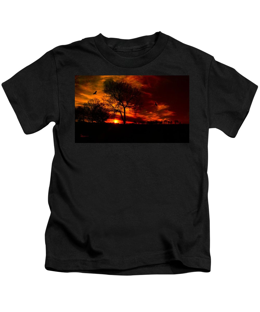 Sunset Kids T-Shirt featuring the photograph Sunset In The Field by Ericamaxine Price