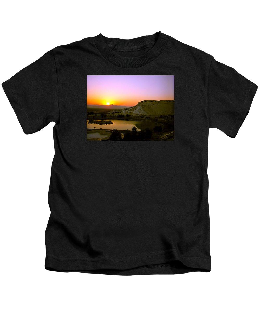 Sunset Kids T-Shirt featuring the photograph Sunset On Cotton Castles by Zafer Gurel