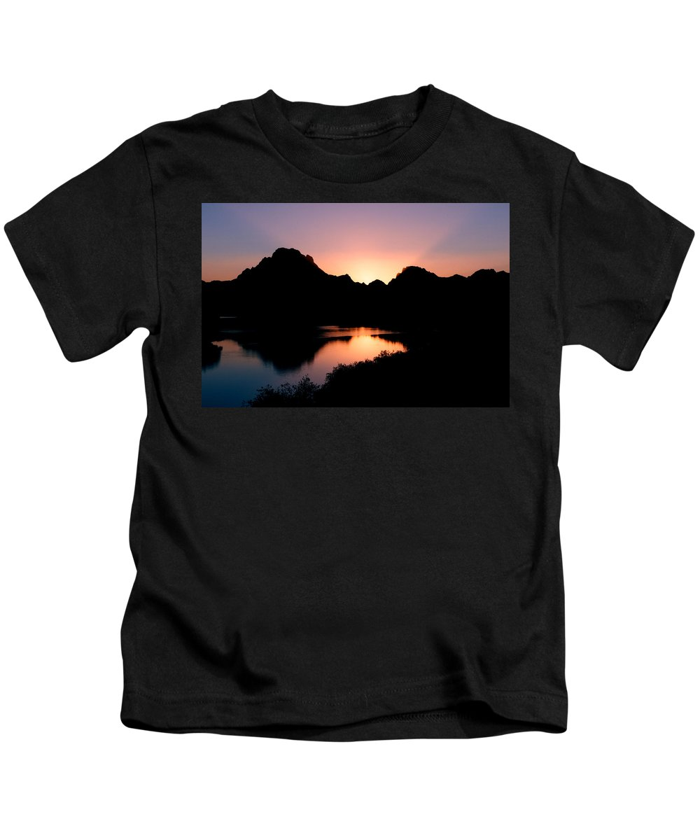 Sunset On The Oxbow Kids T-Shirt featuring the photograph Sunset On The Oxbow by Gary Langley