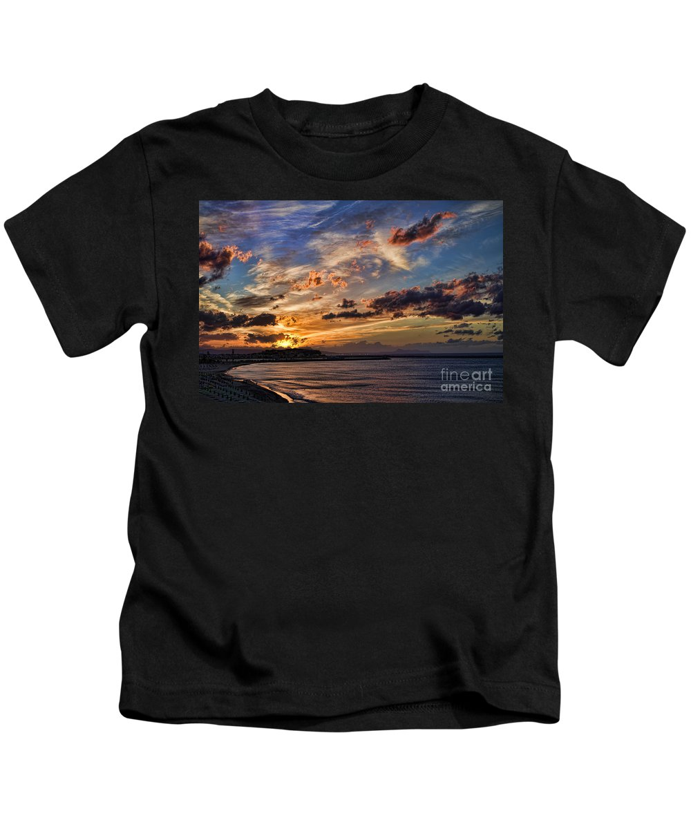 Sunset Kids T-Shirt featuring the photograph Sunset Over Rethymno Crete by David Smith