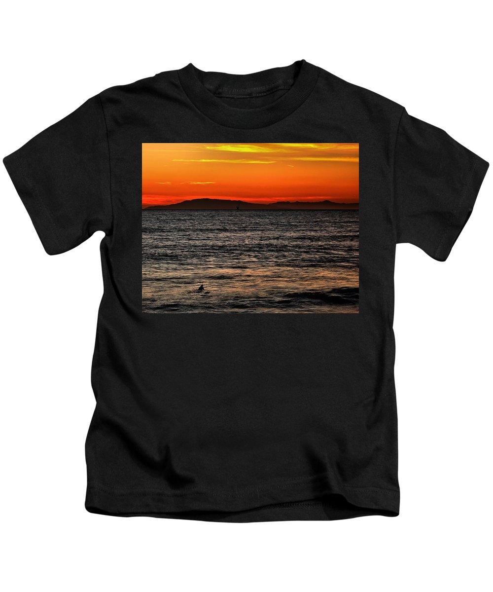 Santa Cruz Kids T-Shirt featuring the photograph Sunset Surfer by Michael Gordon