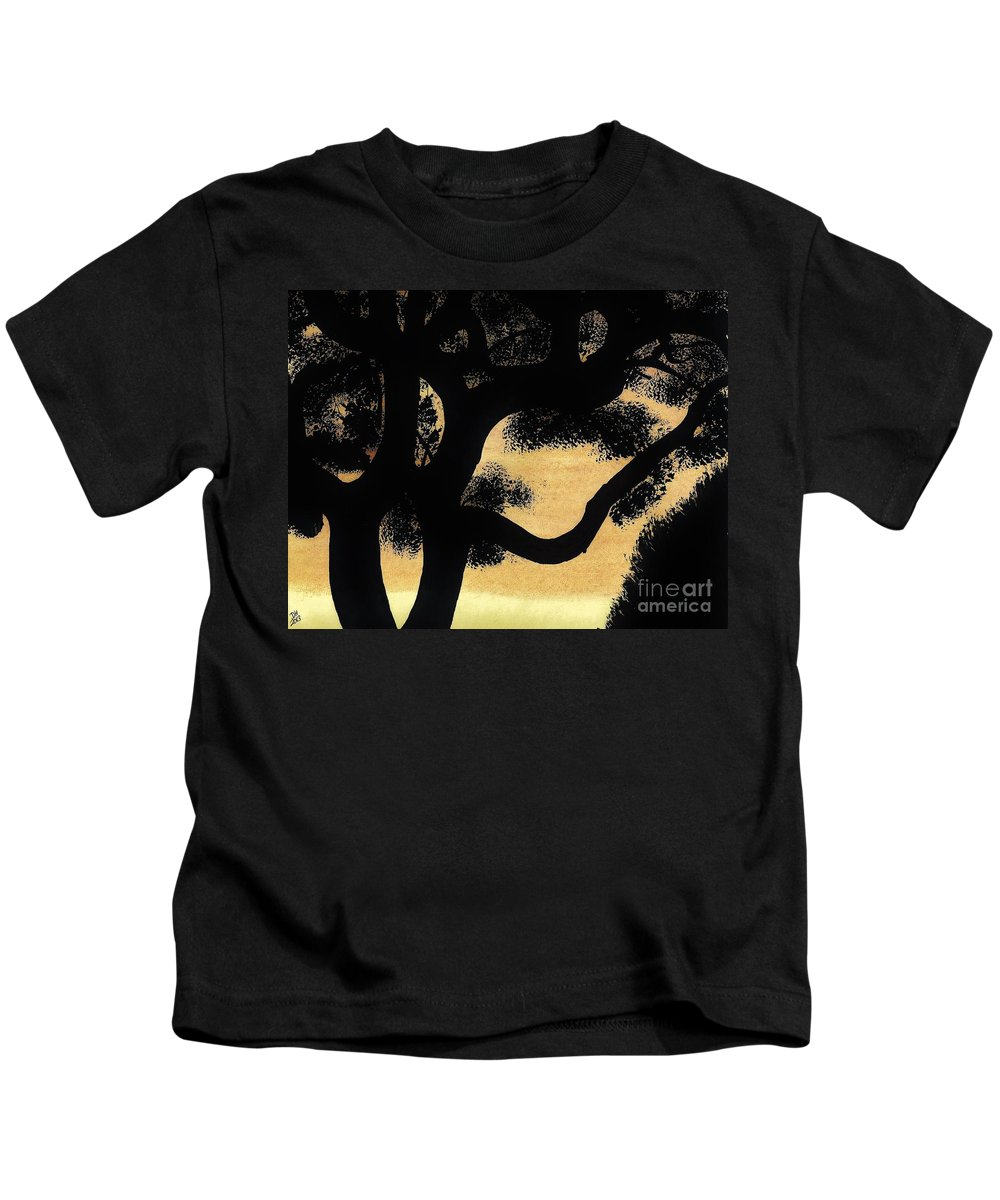 Sunset Kids T-Shirt featuring the drawing Sunset Through The Oak Trees by D Hackett