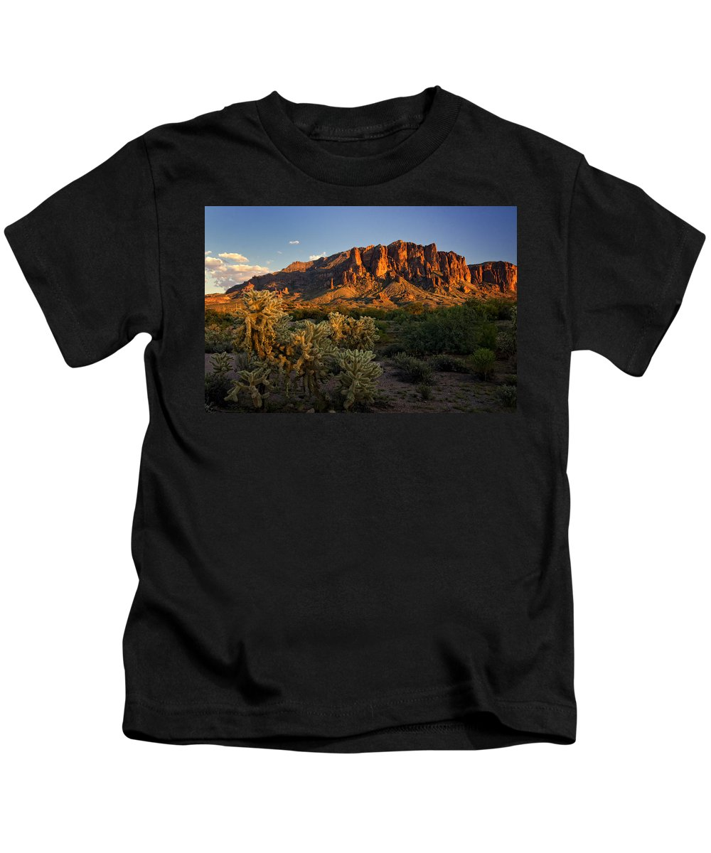 Sunset Kids T-Shirt featuring the photograph Sunset View Of The Superstitions by Saija Lehtonen