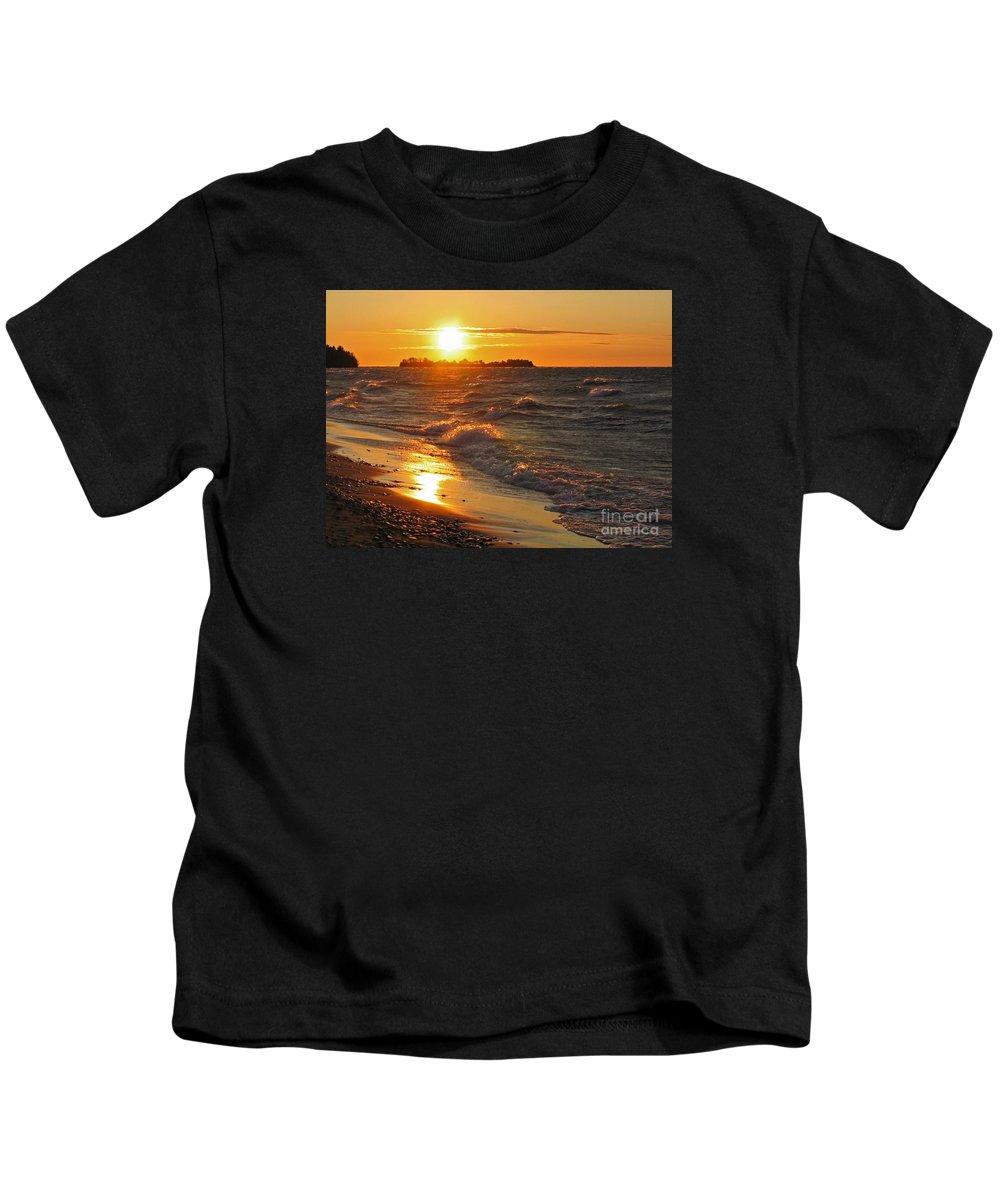 Sunset Kids T-Shirt featuring the photograph Superior Sunset by Ann Horn