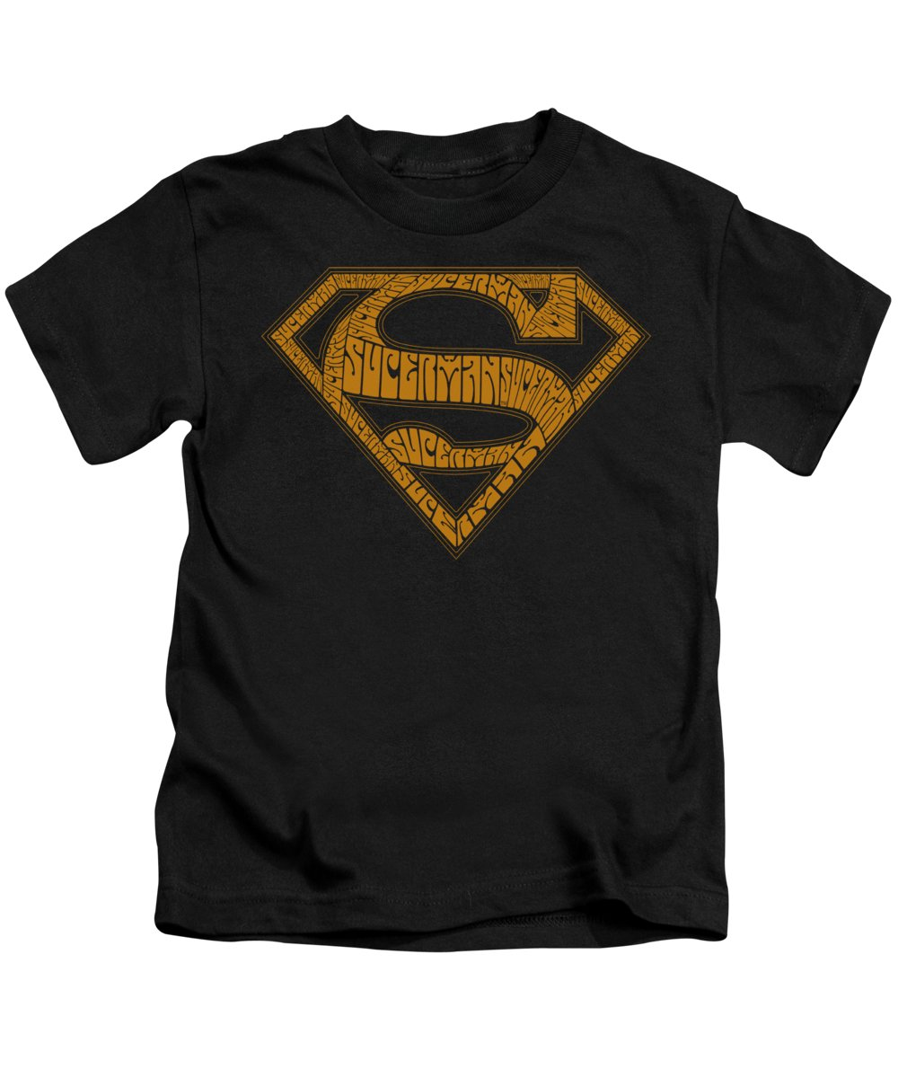 Superman Kids T-Shirt featuring the digital art Superman - 60s Type Shield by Brand A