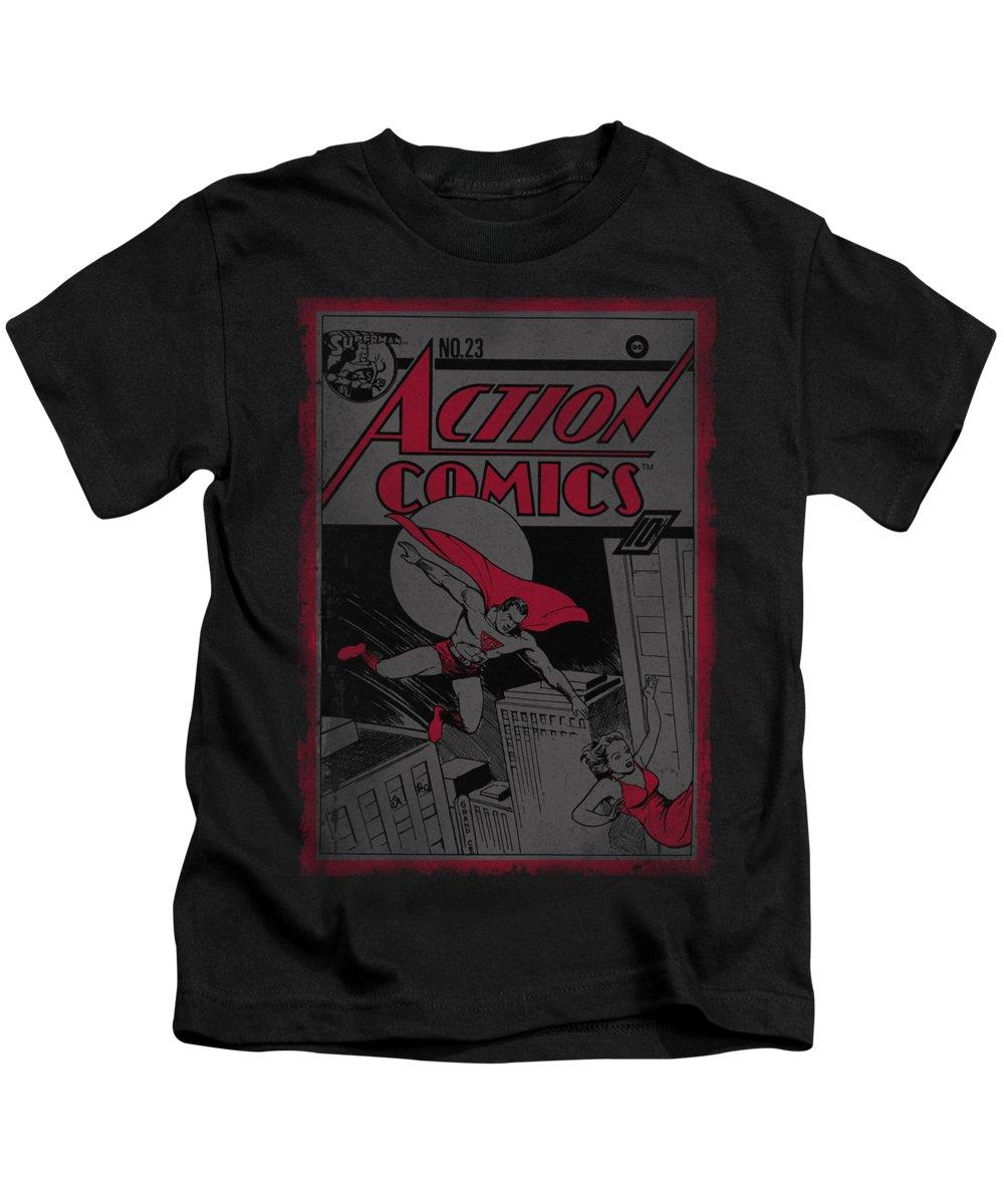 Superman Kids T-Shirt featuring the digital art Superman - Action Comics 23 by Brand A