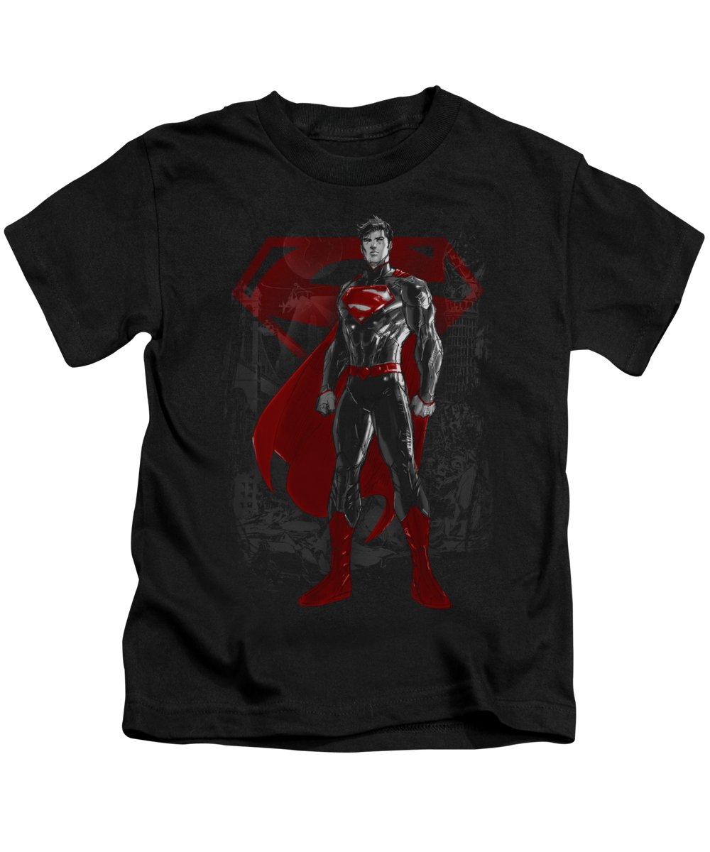 Superman Kids T-Shirt featuring the digital art Superman - Aftermath by Brand A