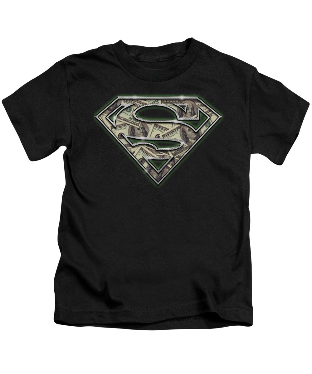 Superman Kids T-Shirt featuring the digital art Superman - All About The Benjamins by Brand A