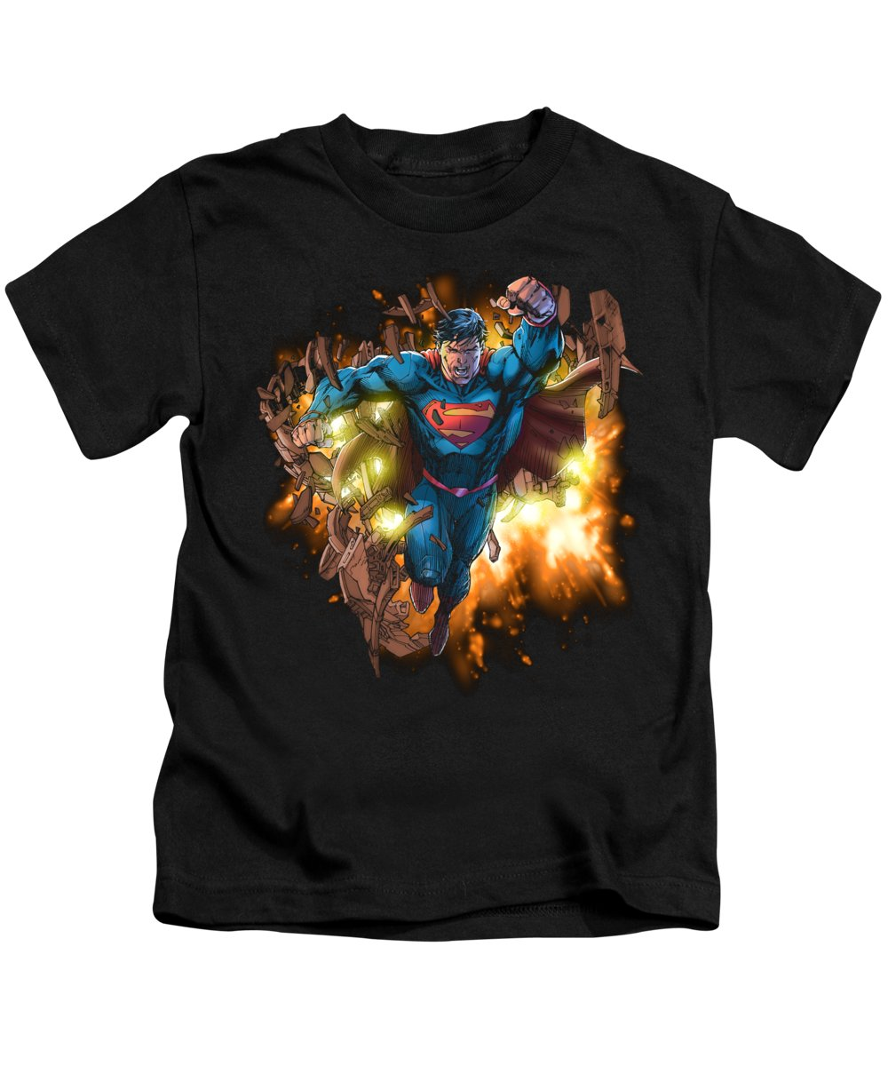 Kids T-Shirt featuring the digital art Superman - Blasting Through by Brand A