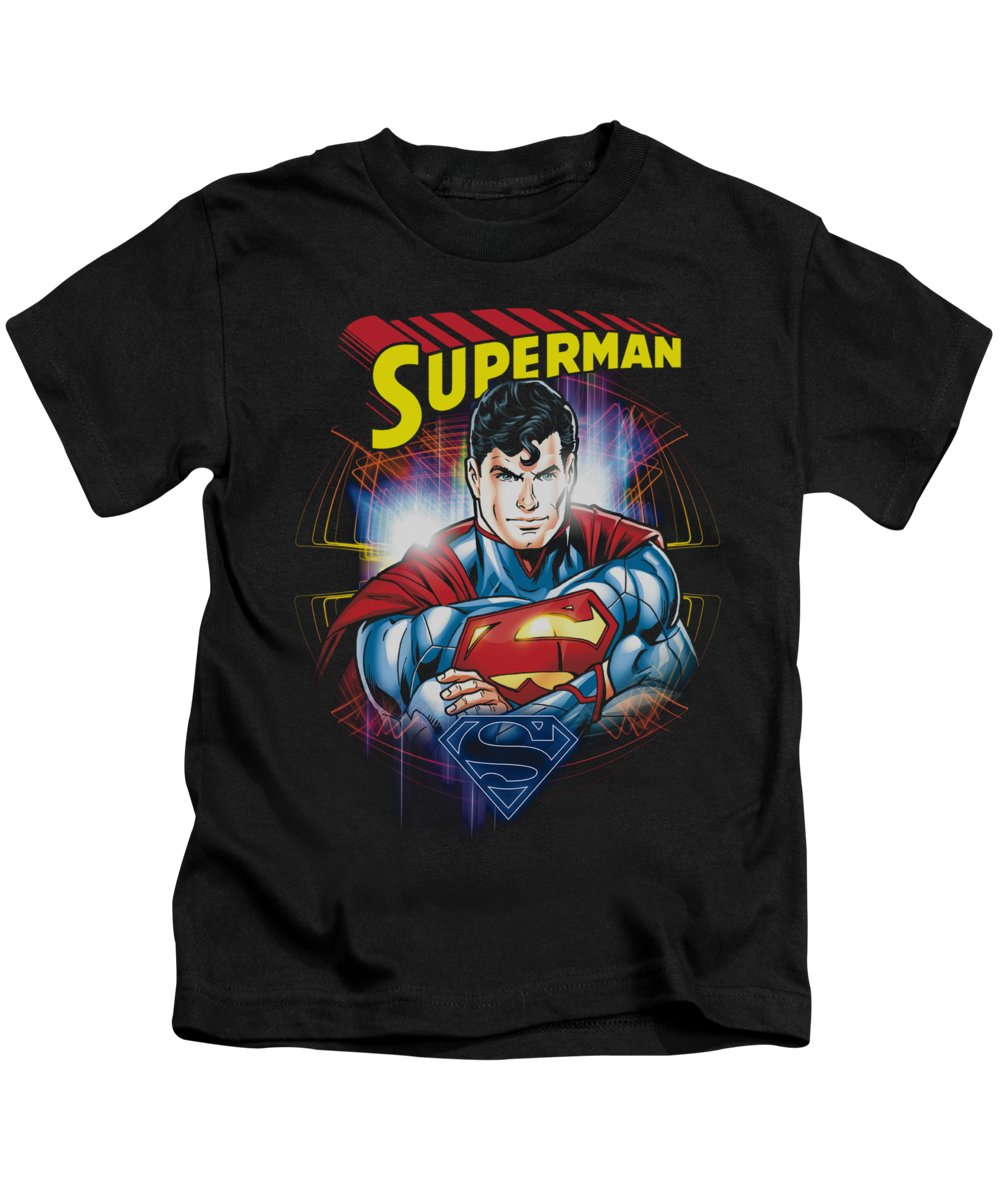 Superman Kids T-Shirt featuring the digital art Superman - Glam by Brand A