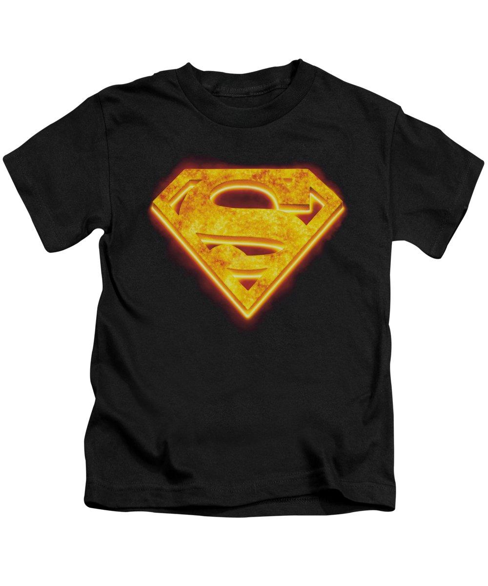 Superman Kids T-Shirt featuring the digital art Superman - Hot Steel Shield by Brand A