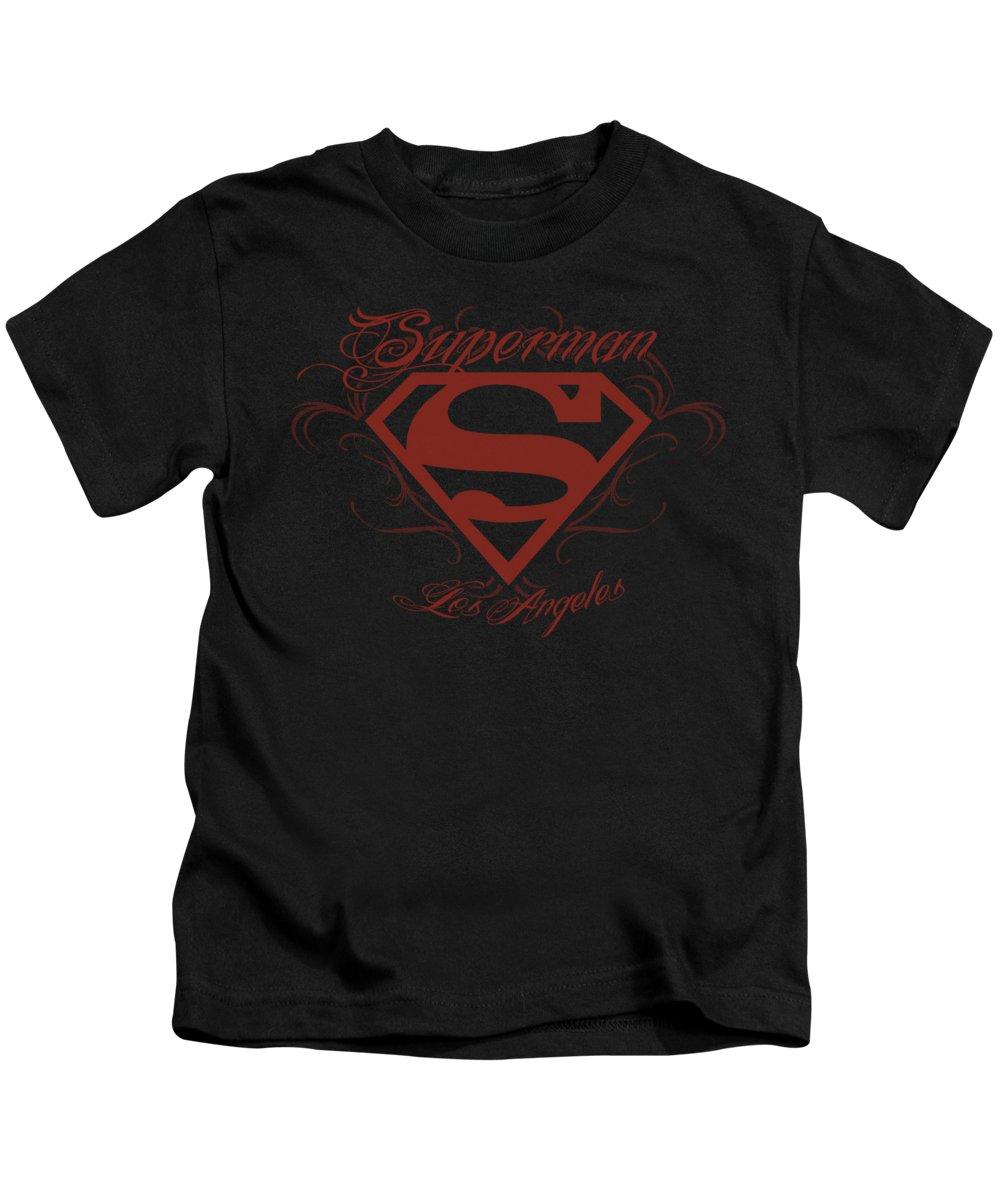 Superman Kids T-Shirt featuring the digital art Superman - La by Brand A