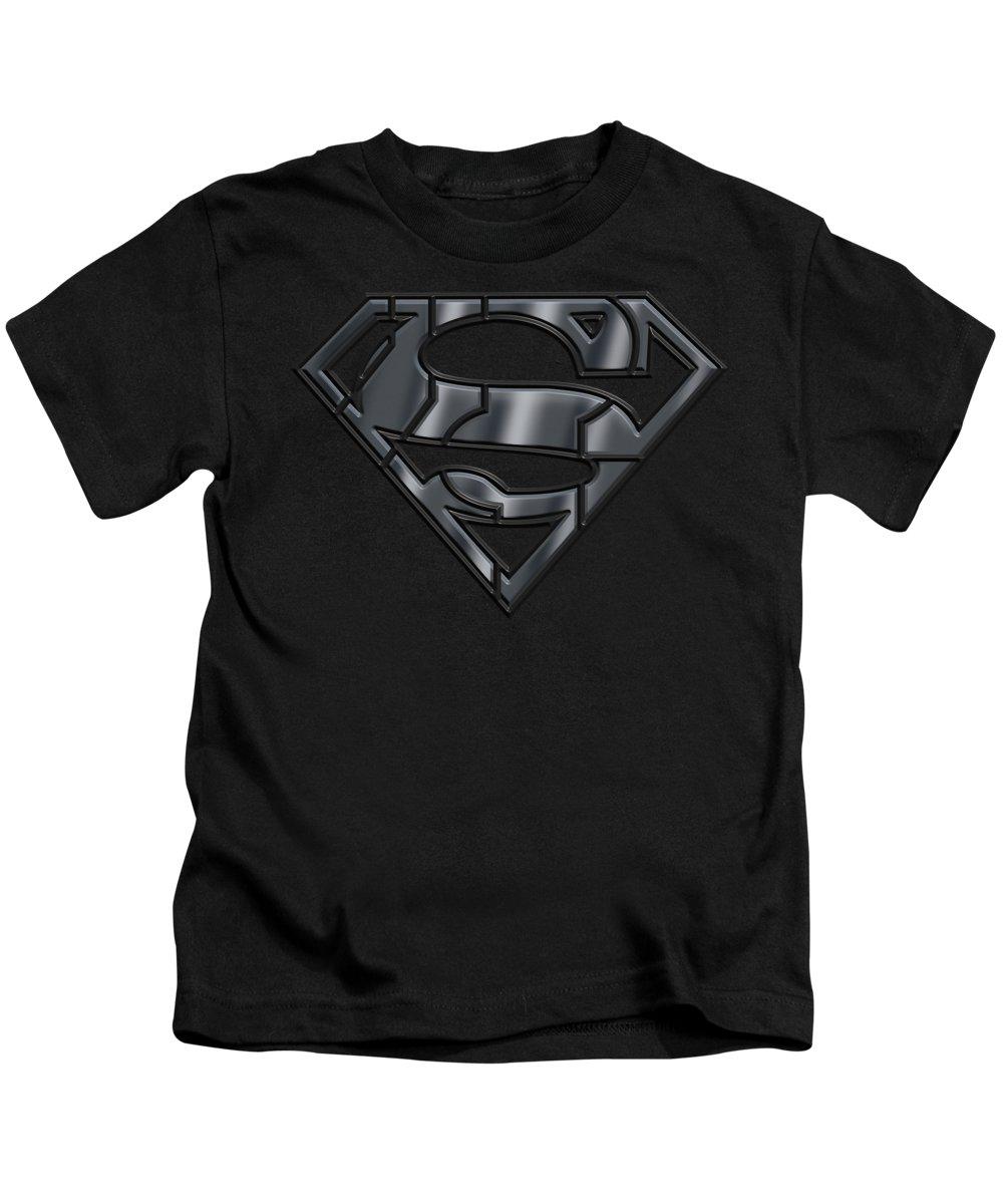Superman Kids T-Shirt featuring the digital art Superman - Mech Shield by Brand A