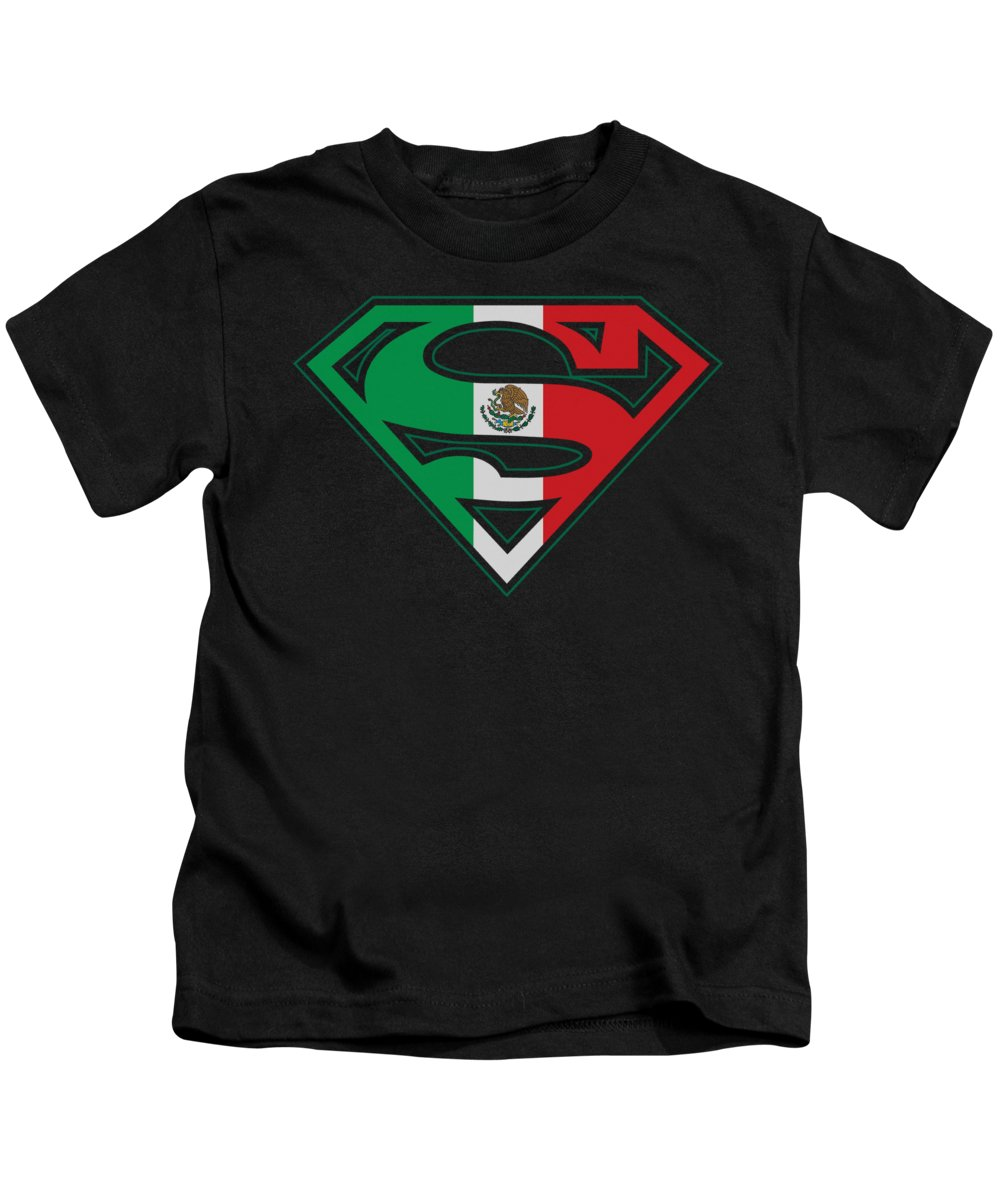 Superman Kids T-Shirt featuring the digital art Superman - Mexican Flag Shield by Brand A