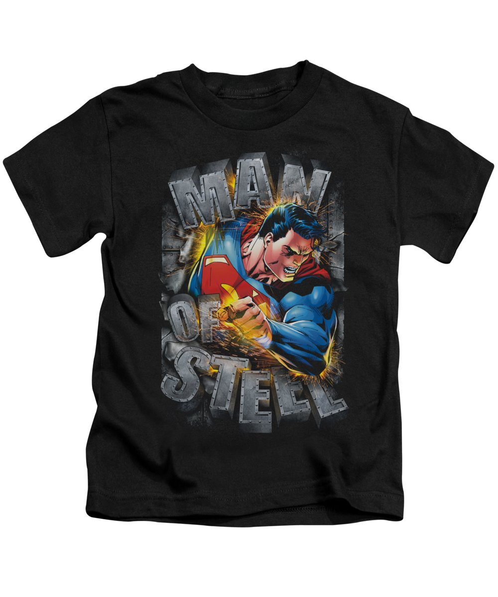 Superman Kids T-Shirt featuring the digital art Superman - Ripping Steel by Brand A