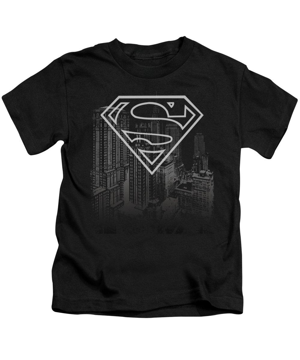 Superman Kids T-Shirt featuring the digital art Superman - Skyline by Brand A