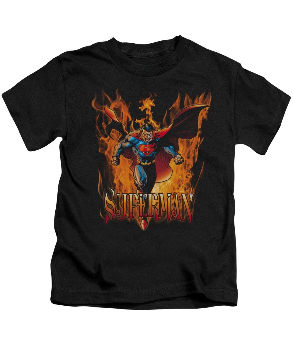 Superman Kids T-Shirt featuring the digital art Superman - Through The Fire by Brand A