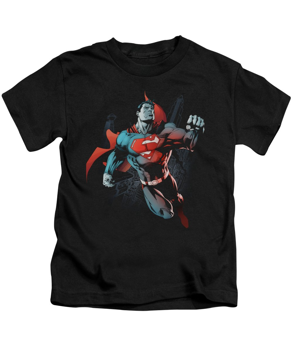 Superman Kids T-Shirt featuring the digital art Superman - Up In The Sky by Brand A
