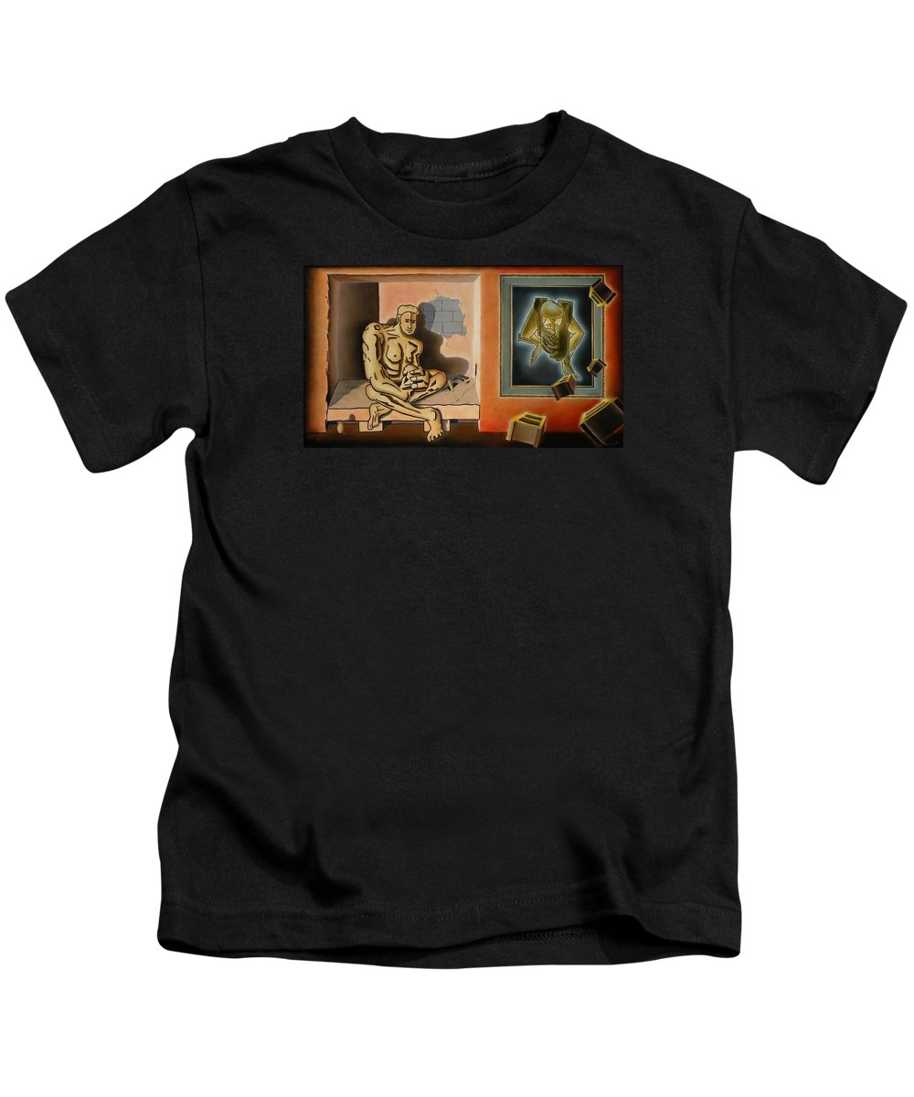 Surreal Kids T-Shirt featuring the painting Surreal Portents Of Genius by Dave Martsolf