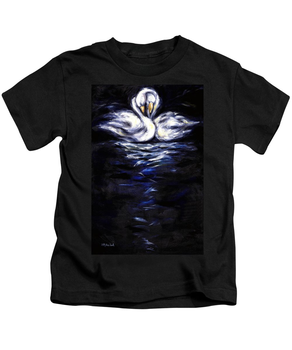 Bird Kids T-Shirt featuring the painting Swan by Hiroko Sakai