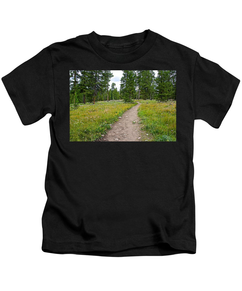 Swan Lake Trail In Grand Teton National Park Kids T-Shirt featuring the photograph Swan Lake Trail In Grand Teton National Park-wyoming by Ruth Hager