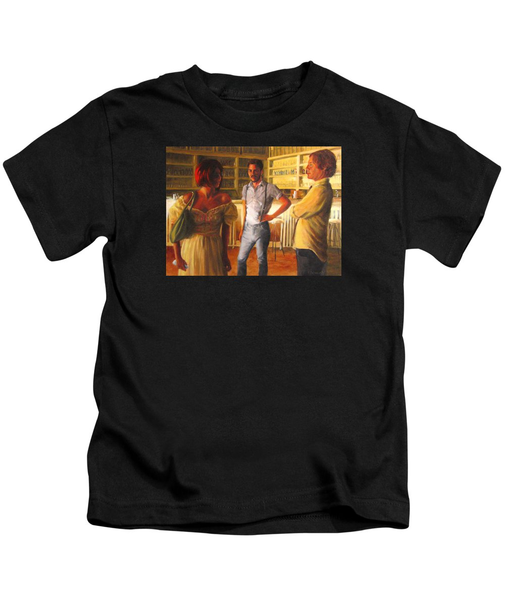 Bar Kids T-Shirt featuring the painting Swans' Focus by Connie Schaertl