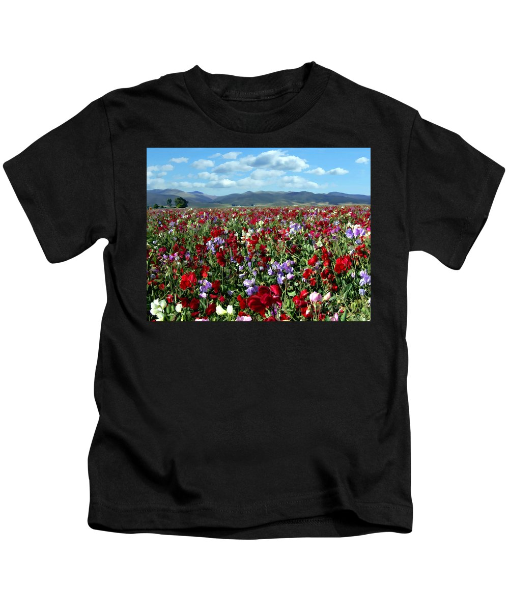 Flowers Kids T-Shirt featuring the photograph Sweet Peas Forever by Kurt Van Wagner