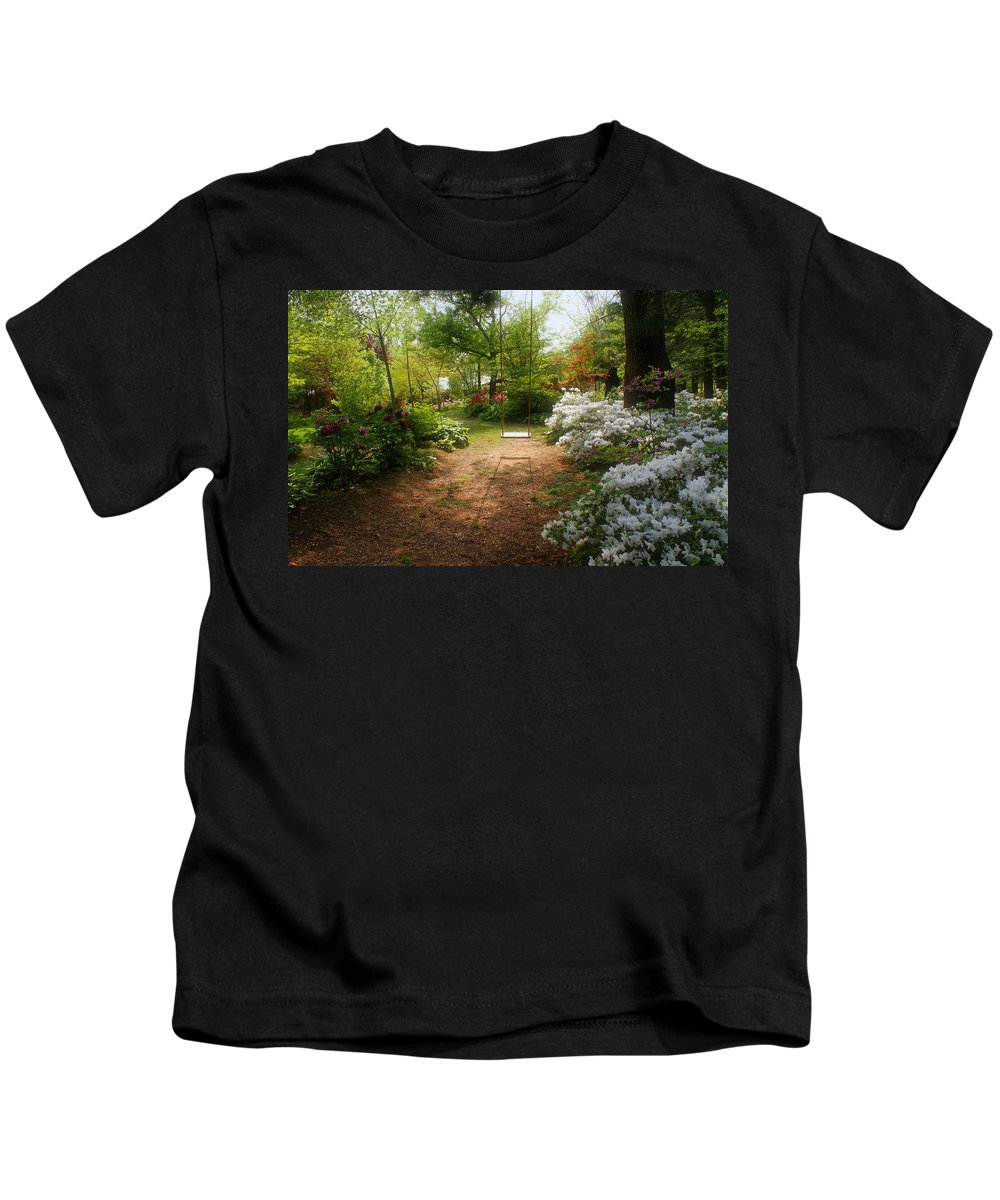 Swing Kids T-Shirt featuring the photograph Swing In The Garden by Sandy Keeton