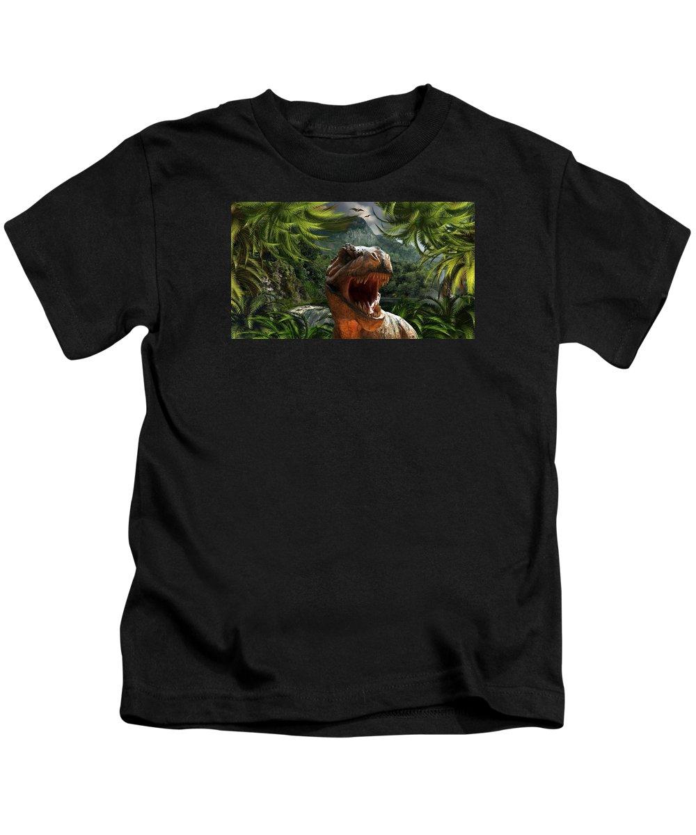 Dinosaur Kids T-Shirt featuring the digital art T-rex by FL collection