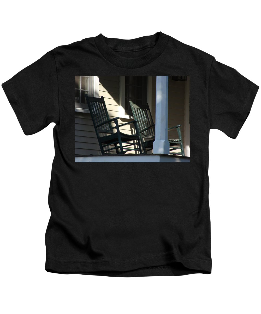 Rocking Chairs Kids T-Shirt featuring the photograph Take It Easy by Ira Shander