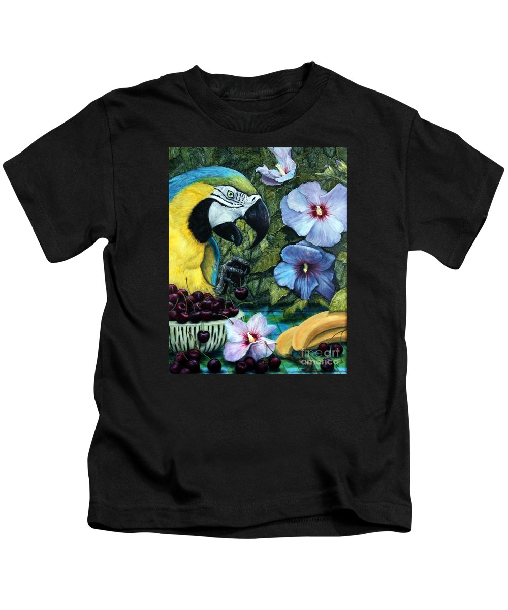 Macaw Kids T-Shirt featuring the painting Tapestry by Joey Nash