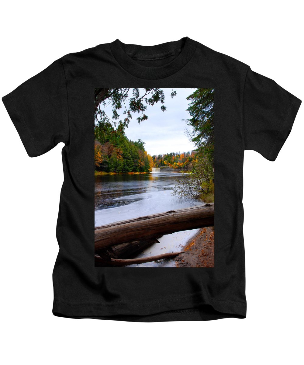 Optical Playground By Mp Ray Kids T-Shirt featuring the photograph Taquamenon River And Lower Falls by Optical Playground By MP Ray