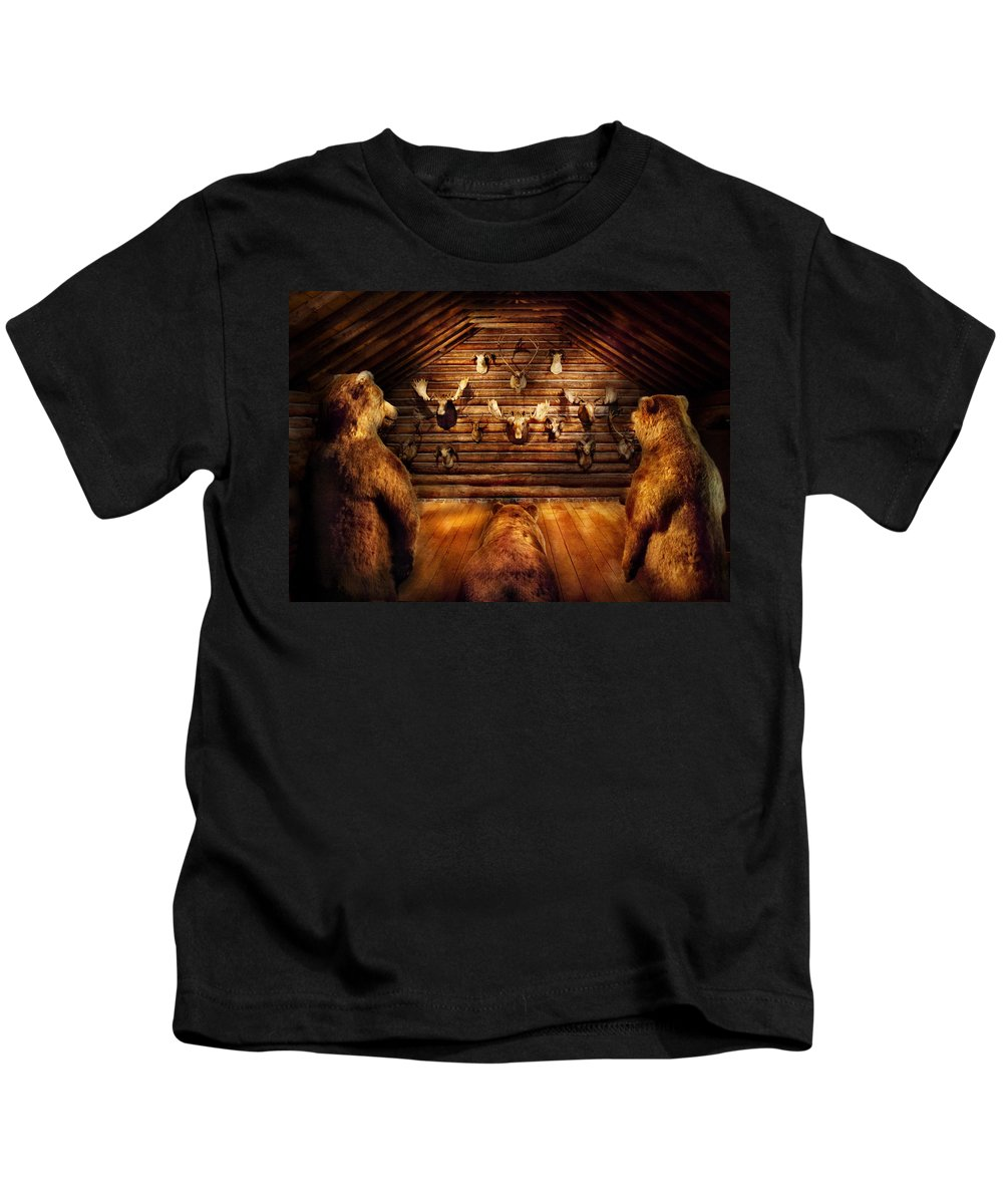 Hdr Kids T-Shirt featuring the photograph Taxidermy - Home Of The Three Bears by Mike Savad