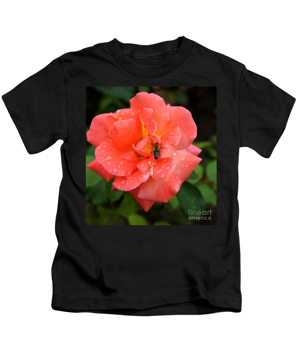 Rose Kids T-Shirt featuring the photograph Teardrops And Bee by Christiane Schulze Art And Photography