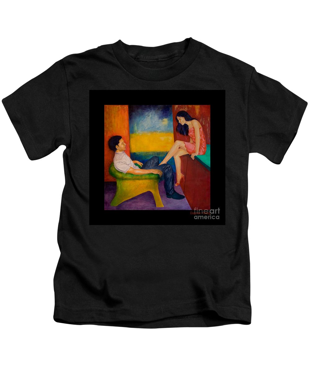 Human-picture-original Kids T-Shirt featuring the painting Temptation by Dagmar Helbig