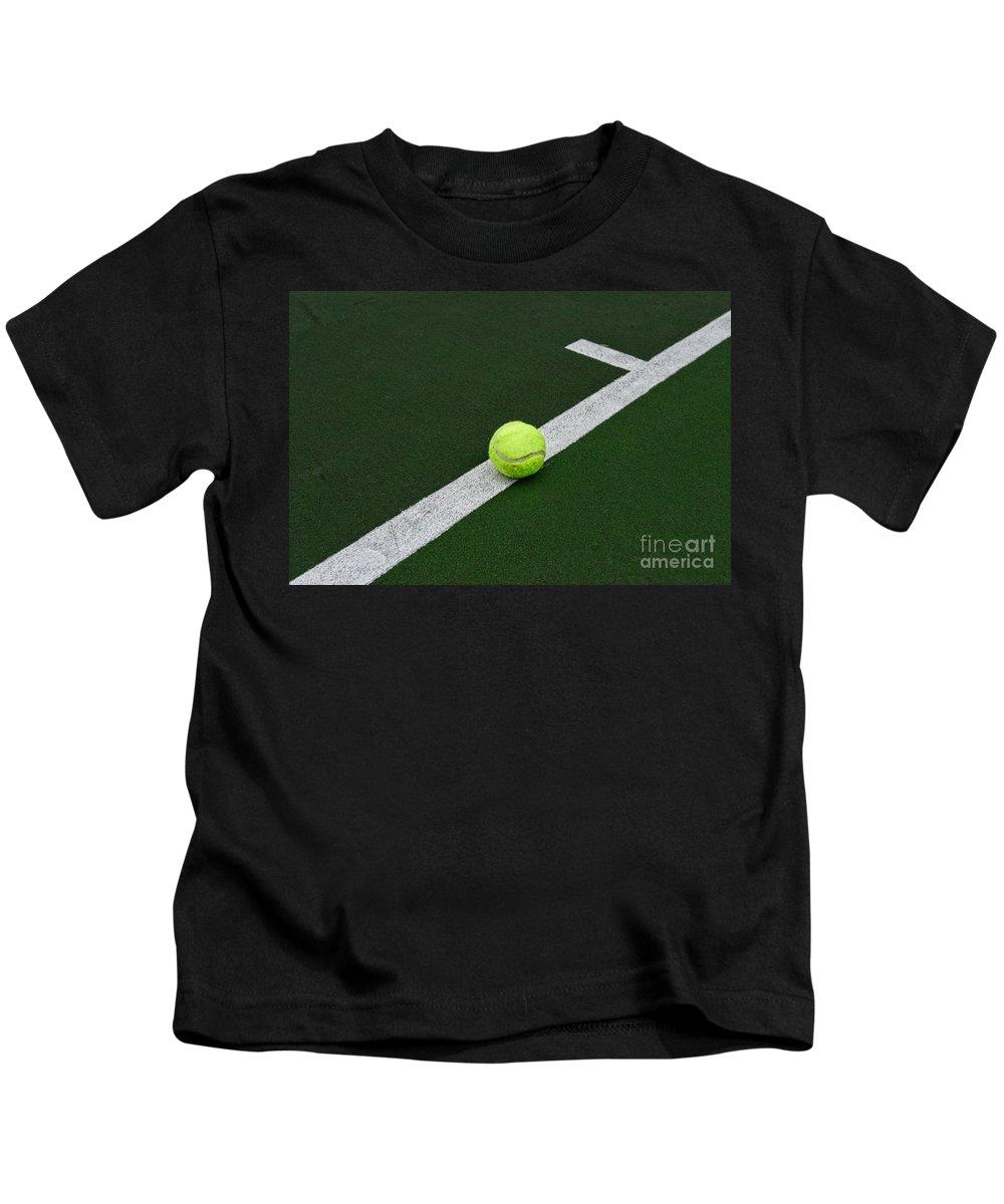 Paul Ward Kids T-Shirt featuring the photograph Tennis - The Baseline by Paul Ward