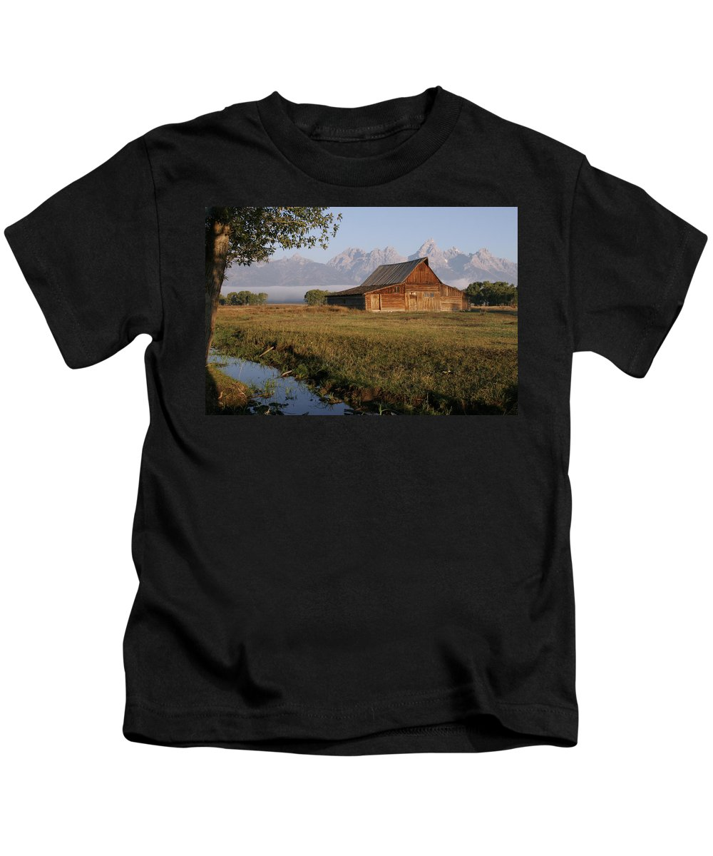 Teton Morning Magic Kids T-Shirt featuring the photograph Teton Morning Magic by Wes and Dotty Weber