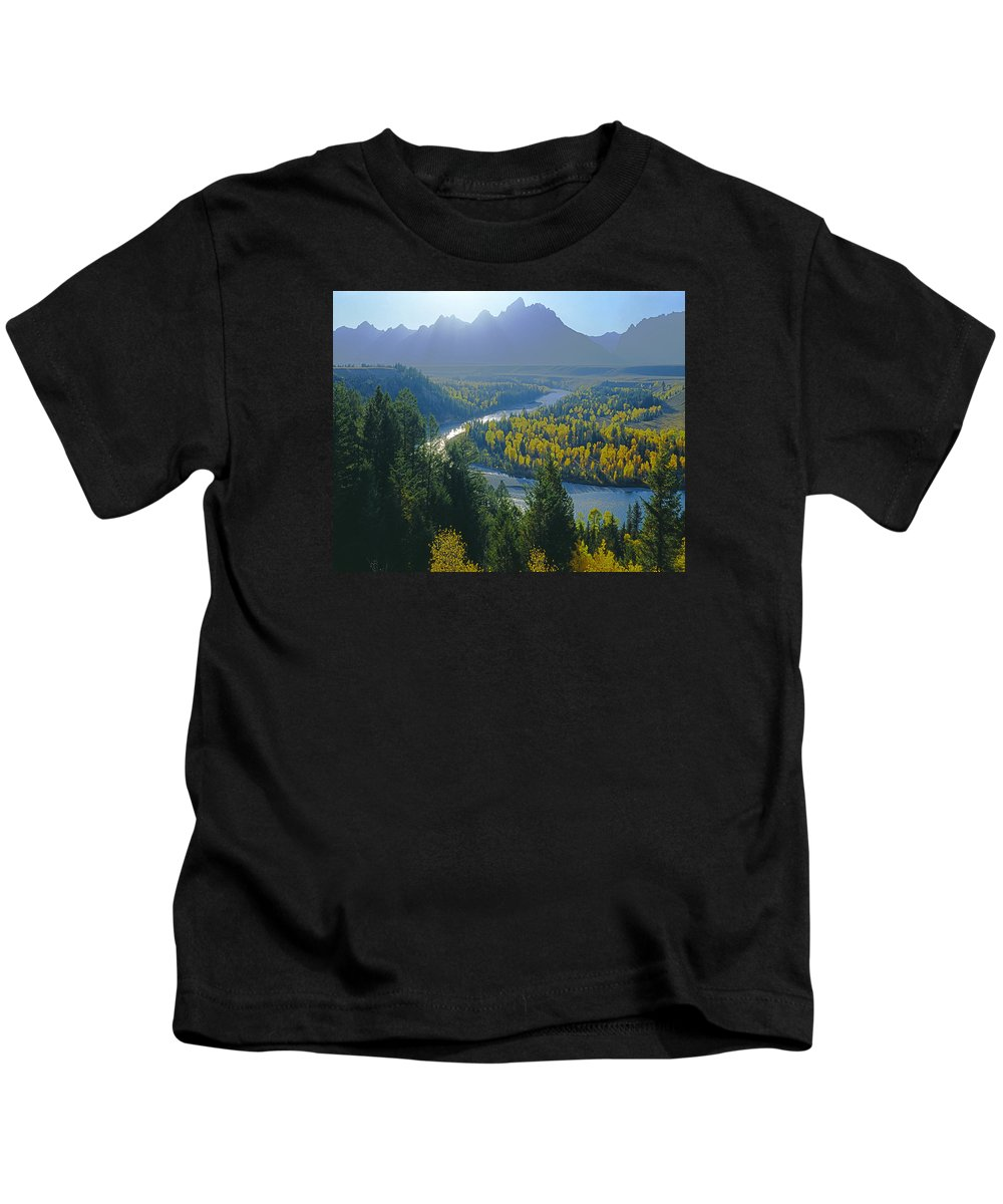 Snake River Overlook Kids T-Shirt featuring the photograph 2m9301-teton Range From Snake River Overlook by Ed Cooper Photography