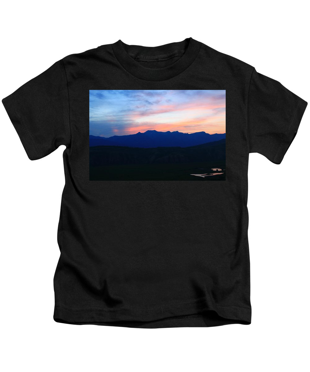 Sunset Kids T-Shirt featuring the photograph Teton Sunset by Catie Canetti