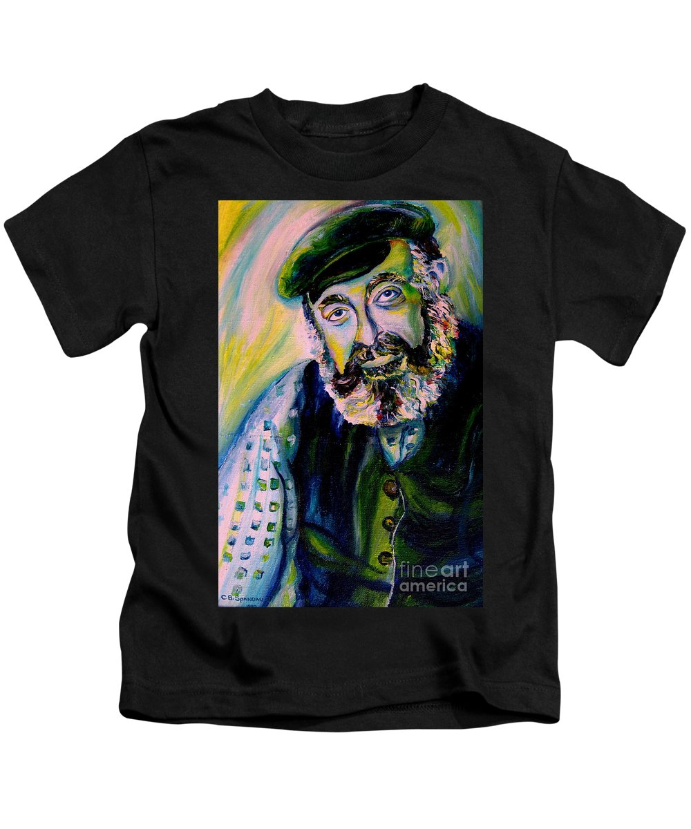 Tevye Fiddler On The Roof Kids T-Shirt featuring the painting Tevye Fiddler On The Roof by Carole Spandau