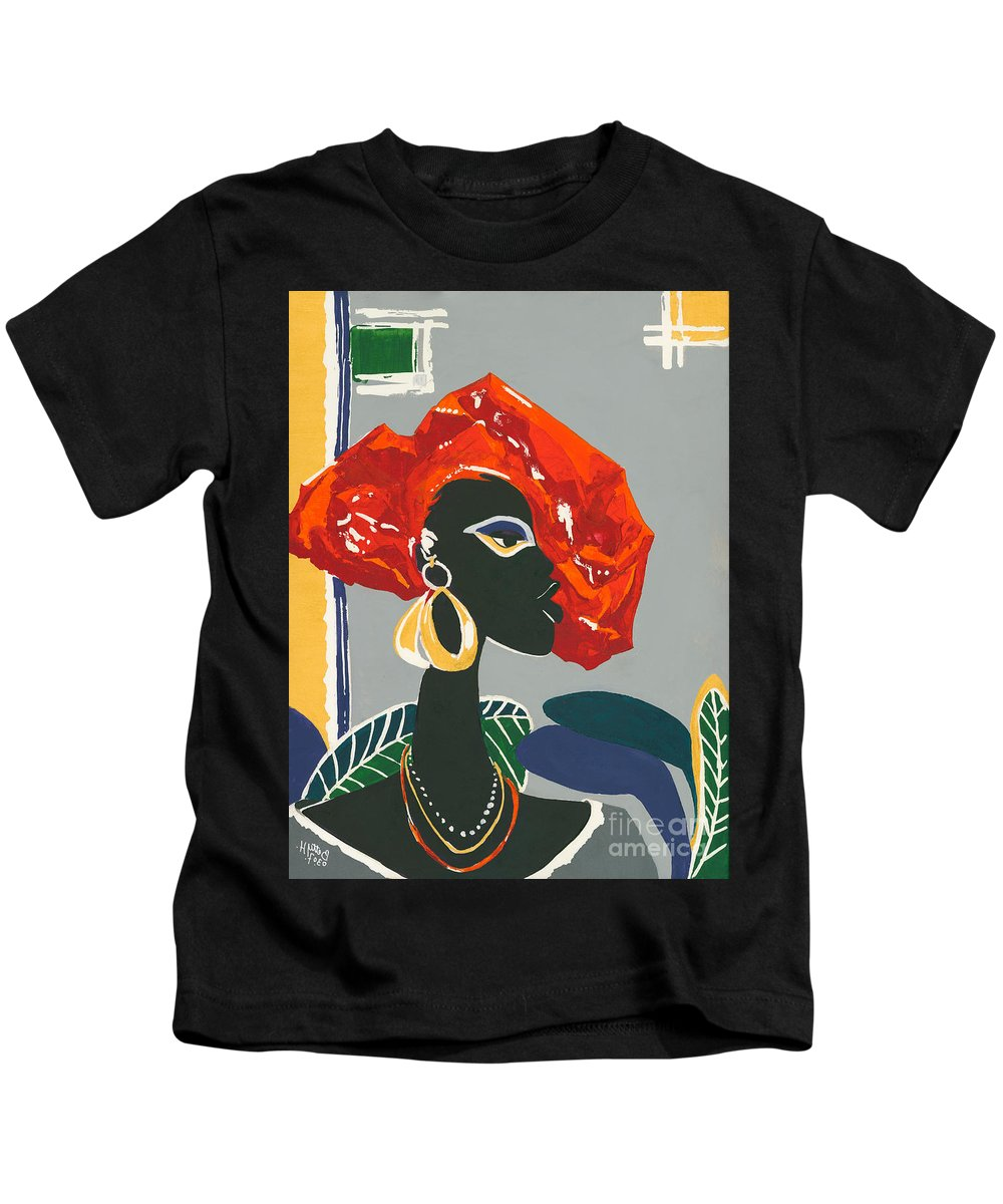 Black Kids T-Shirt featuring the painting The Ambassador by Elisabeta Hermann