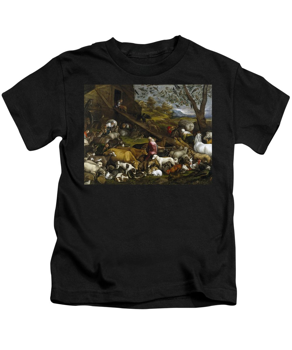 Jacopo Bassano Kids T-Shirt featuring the painting The Animals Entering Noah's Ark by Jacopo Bassano